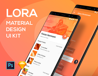 Lora Material Design UI Kit