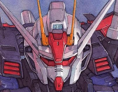 Strike Gundam watercolor