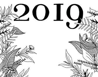 Calendar 2019 - Ink drawing illustrations
