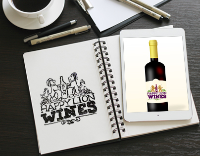 Happy Lion Wines logo design