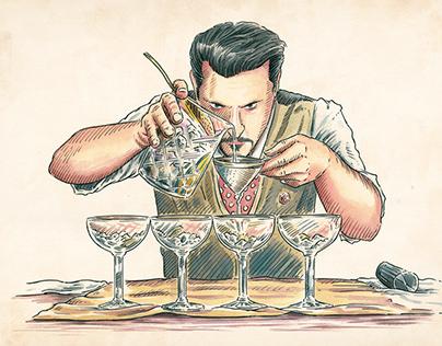 Alcoholic Famous Bottle Illustrations