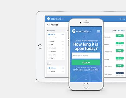 Oppettider.nu Website & Web Application Redesign