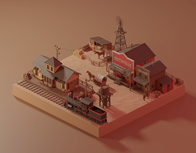 Wild west town - low poly isometric 3D