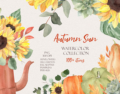 Autumn Sun Watercolor Collection