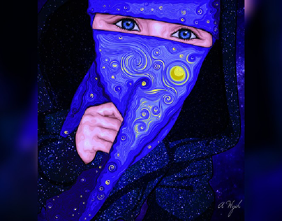 starry night vector drawing