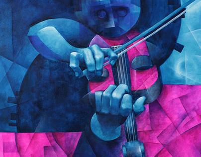 2019 01 05 Violinista en el tejado- Oleo sobre tela 70