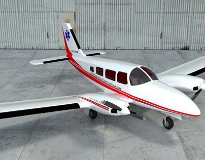 8 hours modeling - PZL M20 Mewa (Piper Seneca)