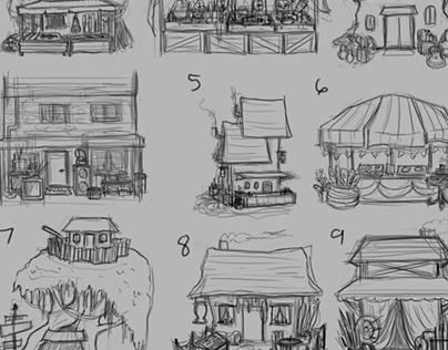 2D Concept Art: Store Fronts
