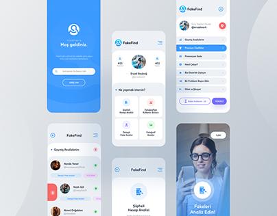 FakeFind Mobil App Design