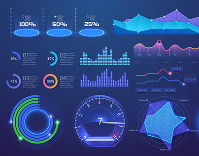 Modern futuristic neon template graph, infographic