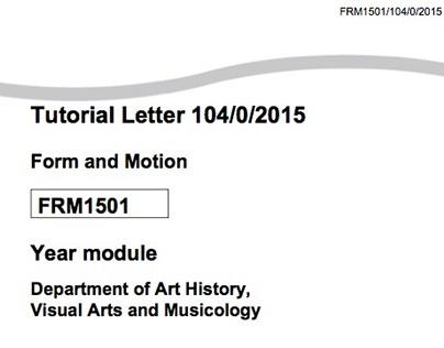 UNISA - Form & Motion • FRM1501