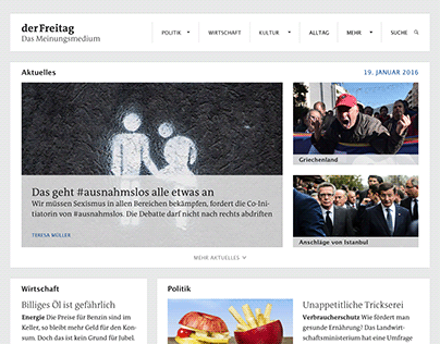 GUI redesign »Der Freitag« web & mobile (2015)