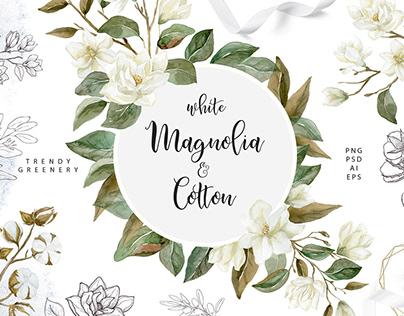 White Magnolia and Cotton. Trendy Greenery. Watercolor