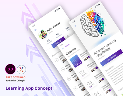 Learning App Concept - Free Download, XD
