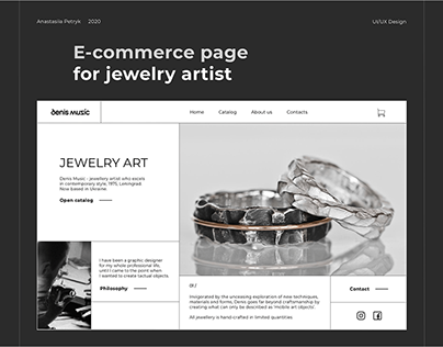 E-commerce page for Jewellery artist