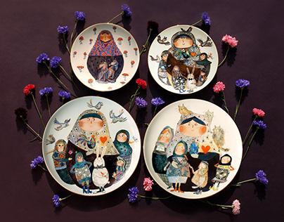 "Porcelain plates ""Matryoshka"""