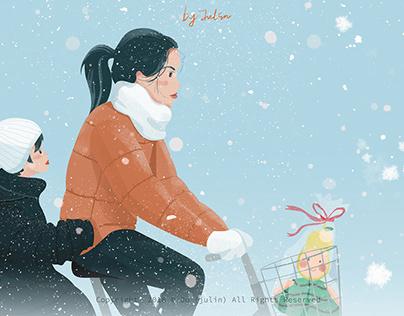 昂贵的布娃娃——Ju(julin插画师)母亲插画,冬季插画,下雪插画