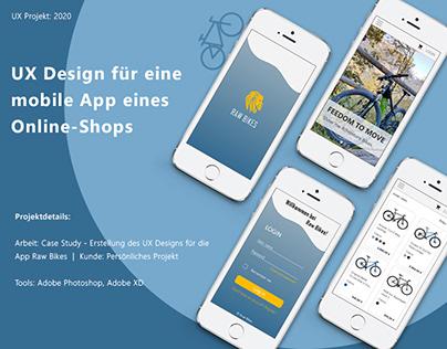 UX Design für die App eines Fahrrad Online-Shops