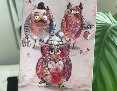 Owls in the greeting cards
