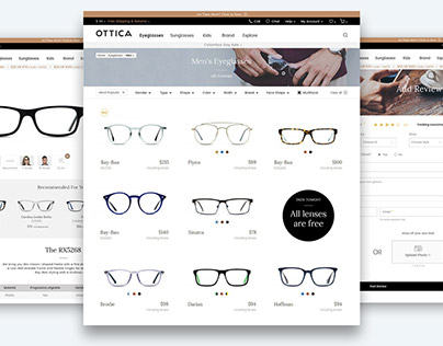 E-commerce website design - OTTICA