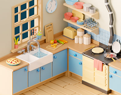Small kitchen - low poly