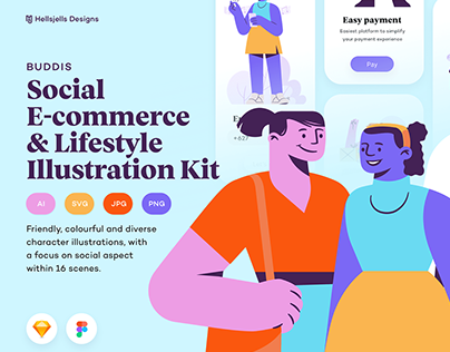Buddis Social & E-commerce Illustration Kit