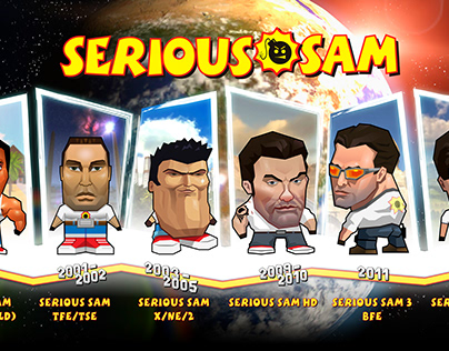 Many silly faces of Serious Sam