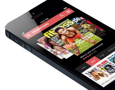 Newsstand 1.0 iPhone Application (Flat Design)