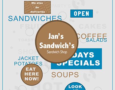 Jans Sandwiches Menu Re-design