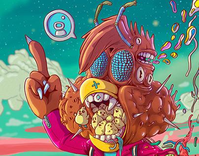 Henery Hawk + Akira by Ilustronauta