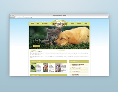 Olive Branch Animal Rescue - Website Redesign