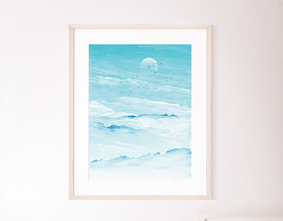 Clouds & Mountain Peaks Landscape Poster