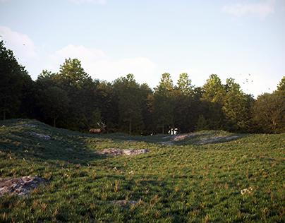 Поляна и лес с использованием Corona Scatter