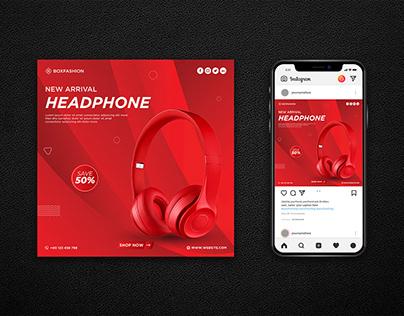 Headphone social media post design
