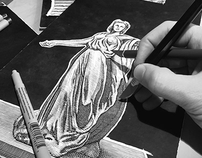 Scratchboard Engraving process rendered by Steven Noble
