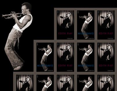 2012 USPS Postage Stamp: Miles Davis & Edith Piaf