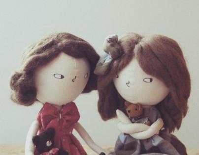 Jimena y Carmela rag dolls