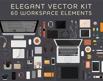 FREE Elegant Vector Kit with 60 Workspace Elements
