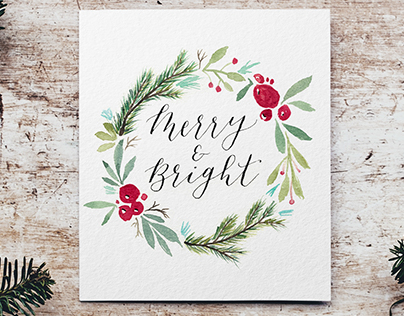 2018 Holiday Card - Calligraphy & watercolor