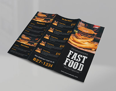 Tri Fold Fast Food Menu TEMPLATE