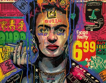 Frida Kahlo pop art portrait