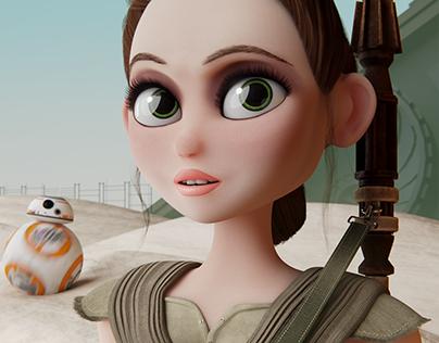 Star Wars 3D Fan-Art - Rey