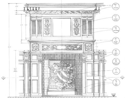 Curious Guardians - Brzezie Palace Fireplace detail