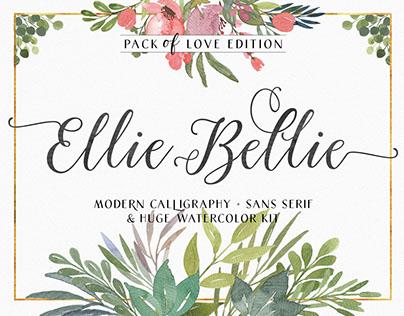 Ellie Bellie Font Duo + Watercolor Kit