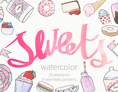 Watercolor sweets: objects & pattern
