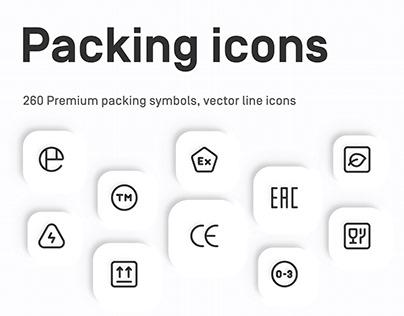 Premium Packaging Symbols, vector line icons