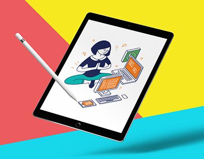 """Mobile Training"" book illustration"