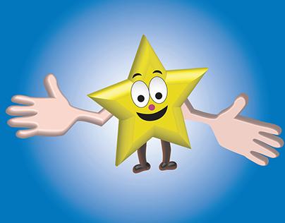 Happy-Star-Hands Cartoon Illustration