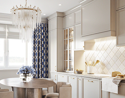 Kitchen with blue curtain (visualization)