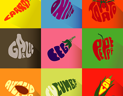 vegetables with typographic shapes
